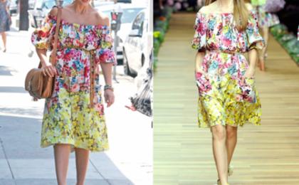 Jessica Alba con un vestitino a fiori D&G