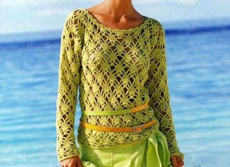 Schemi uncinetto: un pullover color pistacchio