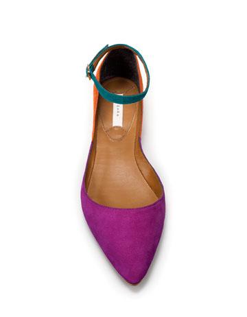 Scarpe Zara: ballerine in color block dal lookbook di Maggio