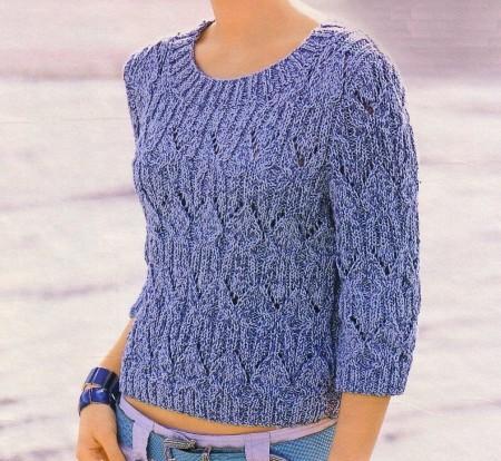 Lavori ai ferri: una maglia melange corta a punto ajour