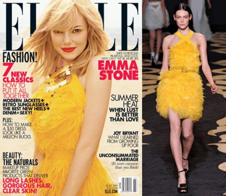 Emma Stone in giallo Versace su Elle, lo stesso abito di Naomi Campbell