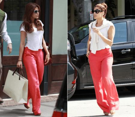 Eva Mendes adora i suoi pantaloni Alice + Olivia
