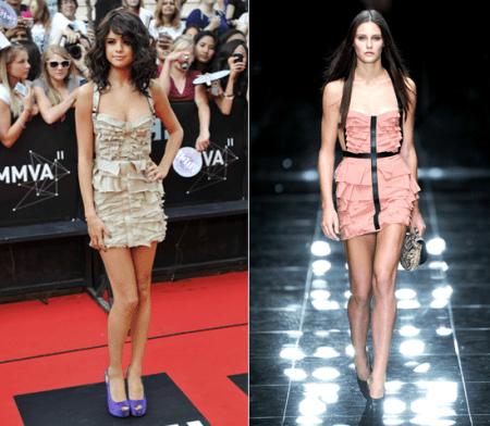 Selena Gomez con vestitino frou frou Burberry Prorsum