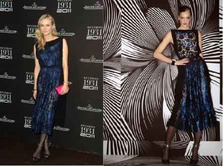 Lo stile perfetto di Diane Kruger con un abito blu notte di Vionnet