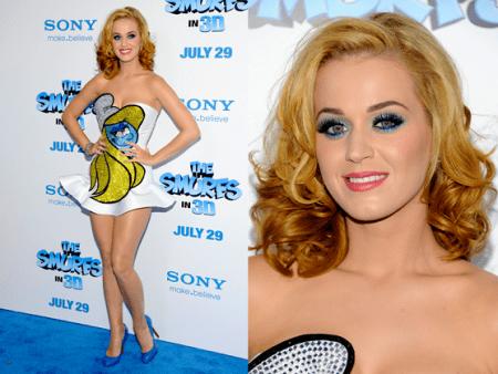 """Katy Perry un look da perfetta Puffetta alla premiere di """"The Smurfs"""""""