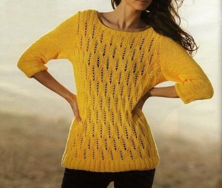 Lavori a maglia per realizzare un pullover estivo