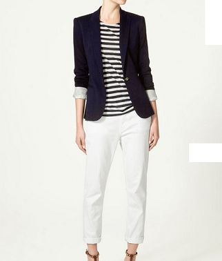 Look Zara in stile navy chic