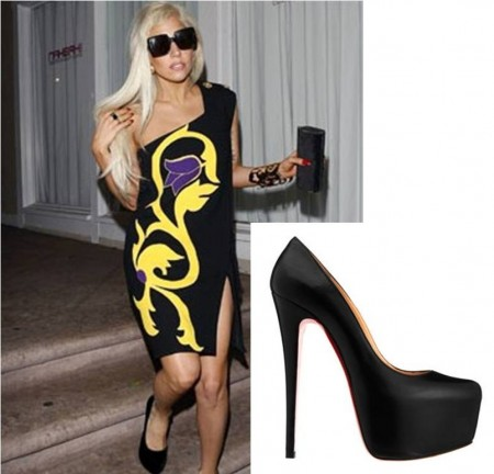 Lady GaGa In Versace louboutin pumps