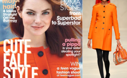 Emma Stone su Teen Vogue con un adorabile cappottino Burberry Prorsum