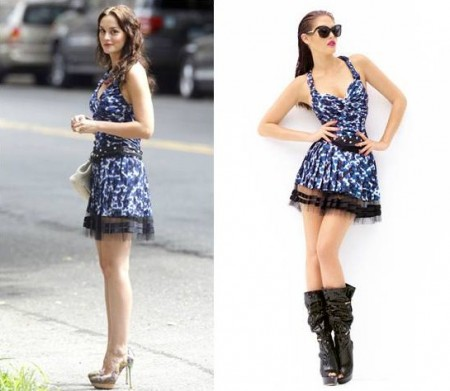 Leighton Meester in Louis Vuitton e Prada sul set di Gossip Girl 5