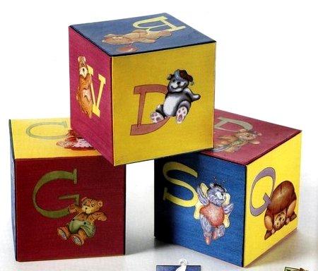 Idee decoupage per decorare i cubi dell'alfabeto