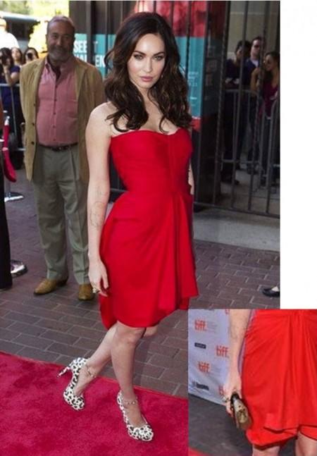 Una bellissima Megan Fox unisce scarpe Brian Atwood con clutch Christian Louboutin