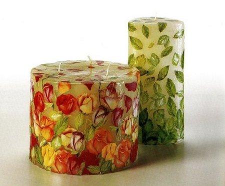 Decoupage creativo per decorare bellissime candele con fiori e foglie