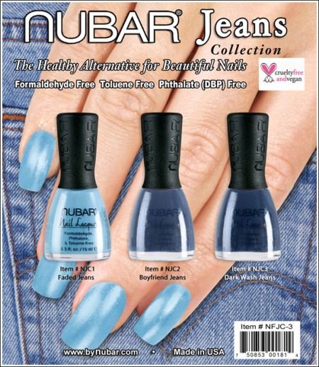 Le unghie vestono casual con gli smalti blu Jeans di Nubar