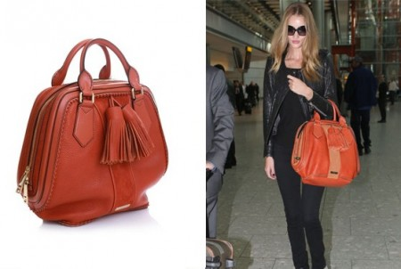 Rosie Huntington Whiteley con la Hedwig Bag di Burberry Prorsum, casual e chic!