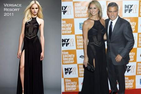 Stacy Keibler, la nuova fidanzata di George Clooney, con un favoloso abito Versace