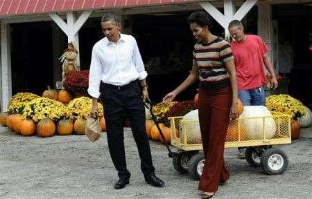 Barack e Michelle e le zucche