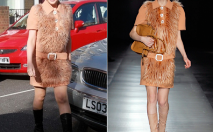 Kylie Minogue con un vestitino peloso di Prada, in o out?