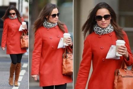 Pippa Middleton con un cappottino Zara rosso