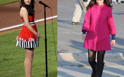 Lo stile frou frou di Zooey Deschanel con il cappottino di Kate Spade e vestito Moschino