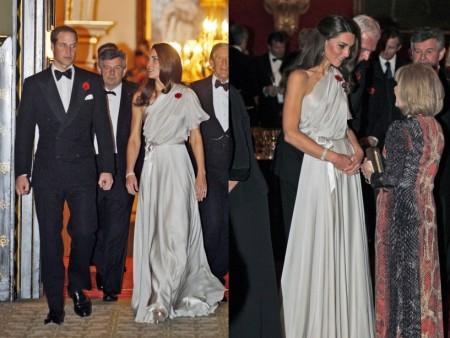 Kate Middleton ancora in Jenny Packham, un abito monospalla perlato