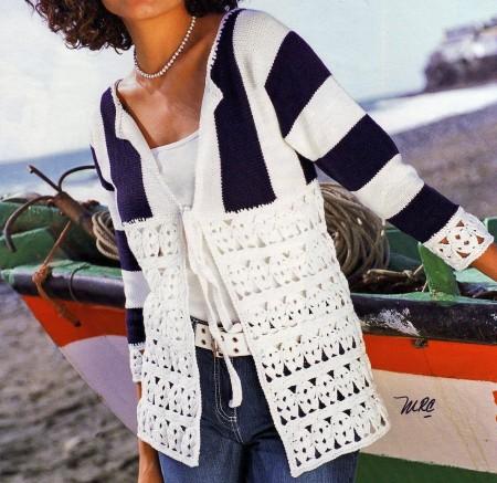 Schemi uncinetto per creare un giacchino lungo a fasce