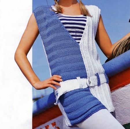 Crea con i nostri lavori a maglia un gilet lungo a due colori