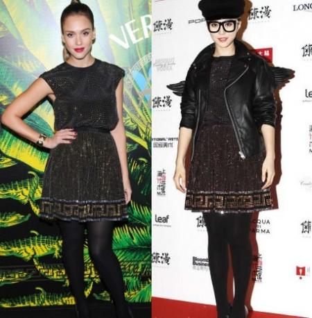 Jessica Alba e Fan Bingbing folgorate dallo stesso abito Versace for H&M