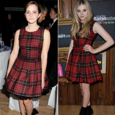Il vestitino in tartan di McQ sta meglio a Emma Watson o Chloe Moretz?