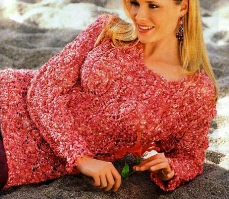 Lavori a maglia, realizza un pullover rosa-rosso
