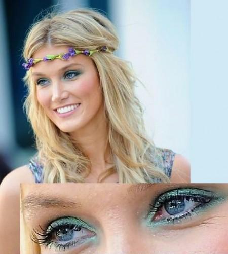 Uno splendido trucco occhi verde acqua per Delta Goodrem, un make up da copiare