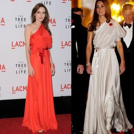 Guerra di stile firmata Jenny Packham tra Kate Middleton e Angelina Jolie: chi è la più bella?