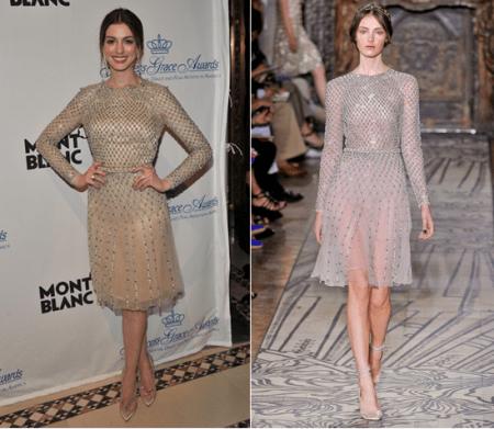 Anne Hathaway con un romantico abito Valentino Couture al galà per Grace Kelly