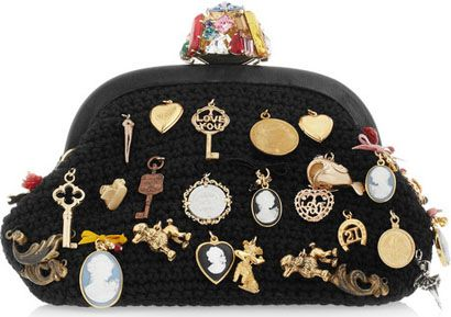 dolce and gabbana charm embellished woven wool clutch