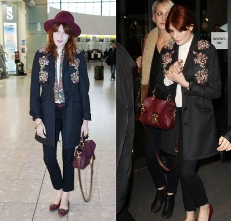Florence Welch con tailleur Jason Wu e borsa Mulberry