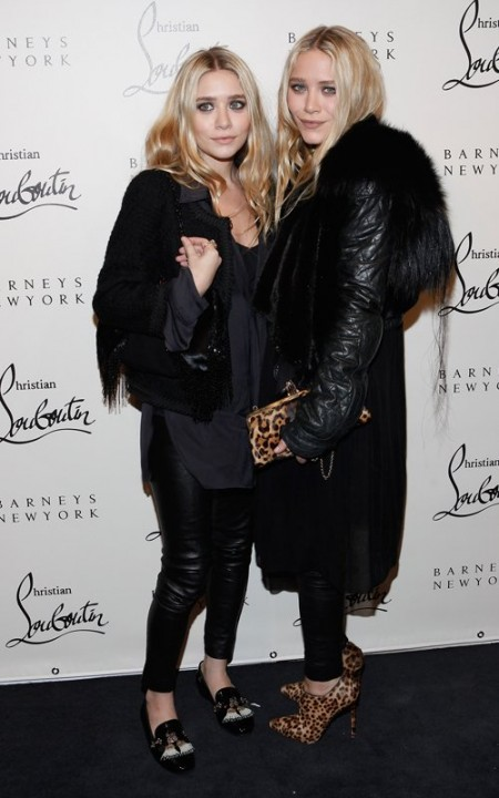 Ashley e Mary Kate Olsen con accessori favolosi al Christian Louboutin Cocktail Party