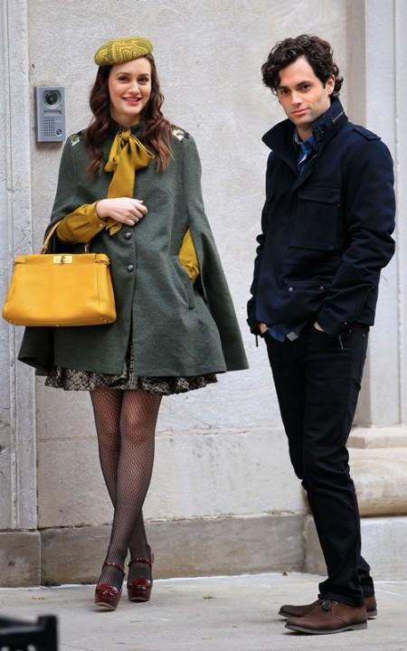 Leighton Meester sul set di Gossip Girl veste Alice + Olivia con accessori Miu Miu e Fendi