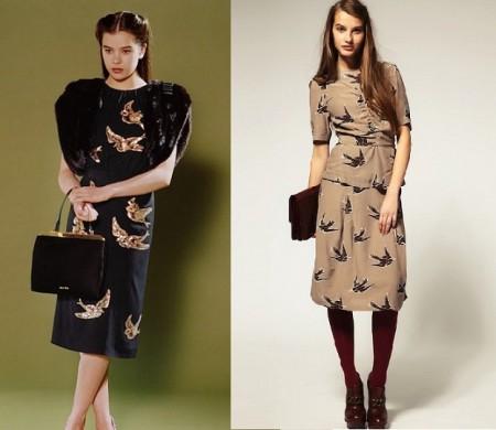 Il vestito con le rondini di Miu Miu e la versione democratica di Asos