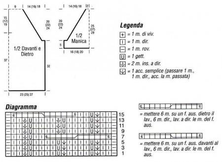 Diagramma e schema maglietta a righe con cappuccio