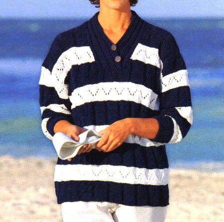 Lavori a maglia per creare un maglione in stile marinaro