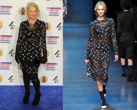 Anche Helen Mirren con le stelline Dolce & Gabbana