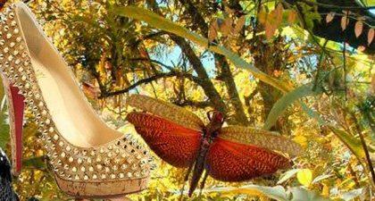 Le Alti Spikes dorate di Christian Louboutin con il tacco da 16 cm