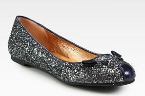 marc by marc jacobs ballerine glitter argento