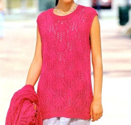 Lavori a maglia, nuovi schemi gratis per realizzare una canotta rosa
