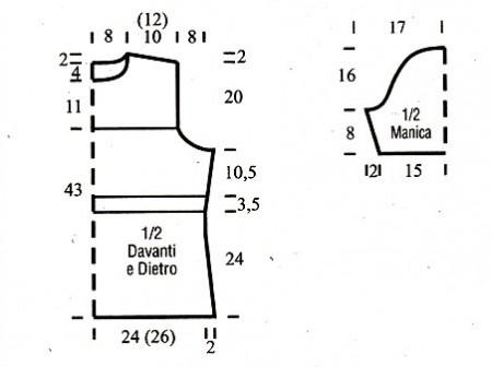 Schemino cartamodello maglia azzurra punto coste