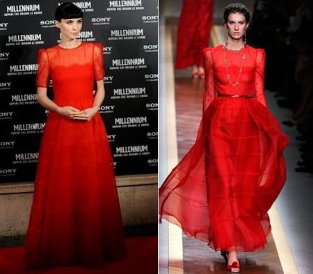 Rooney Mara in rosso Valentino, un sogno…