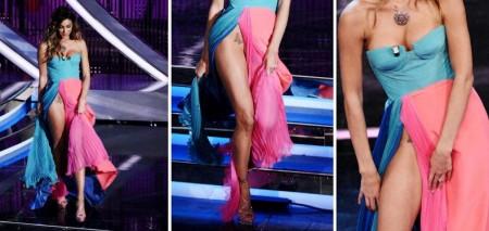 Belen Rodriguez ammette di aver esagerato con lo spacco dell'abito di Fausto Puglisi