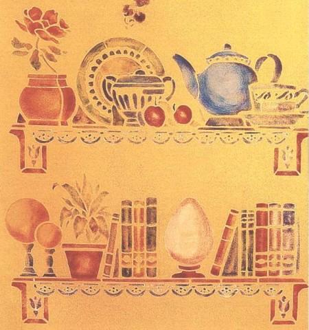 Decorazioni fai da te crea delle mensole stencil sulle for Stencil per mobili cucina