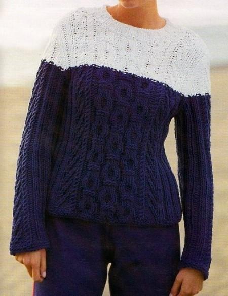 Lavori a maglia: un morbido pullover blu e bianco