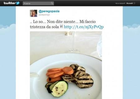 Paola Perego: dieta povera, le immagini su Twitter